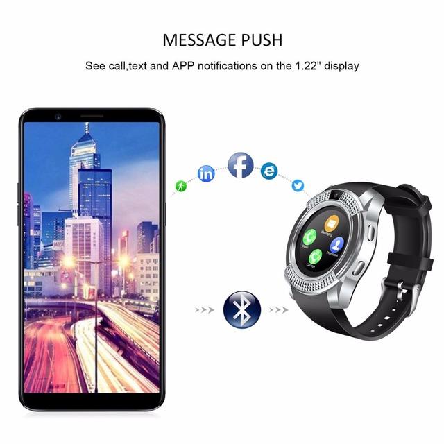 Smart Watch V8 SmartWatch Bluetooth Touch Screen Wrist Watch with Camera/SIM Card Slot, Waterproof Smart Watch DZ09 Y1 VS M2 A1