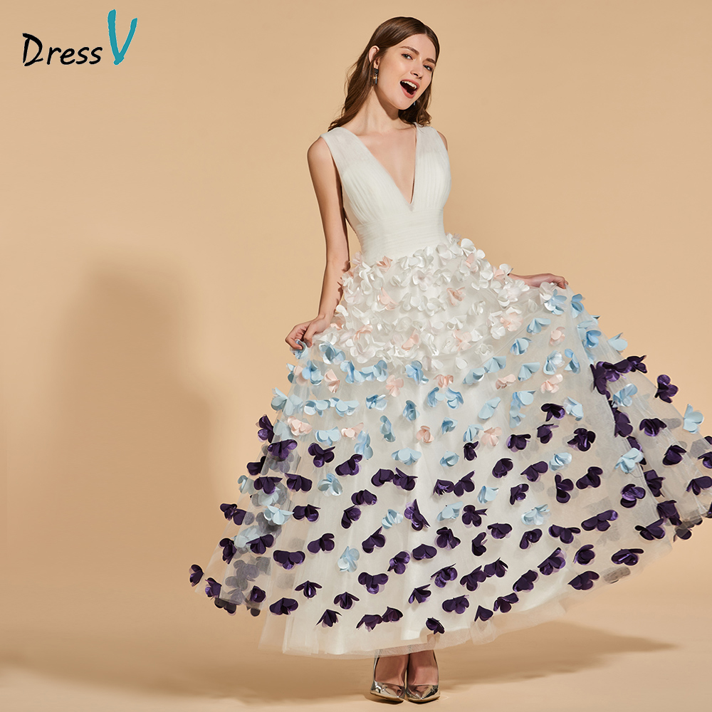 Dressv Party-Gown Appliques Backless Evening Ankle-Length Long Simple V-Neck A-Line Empire