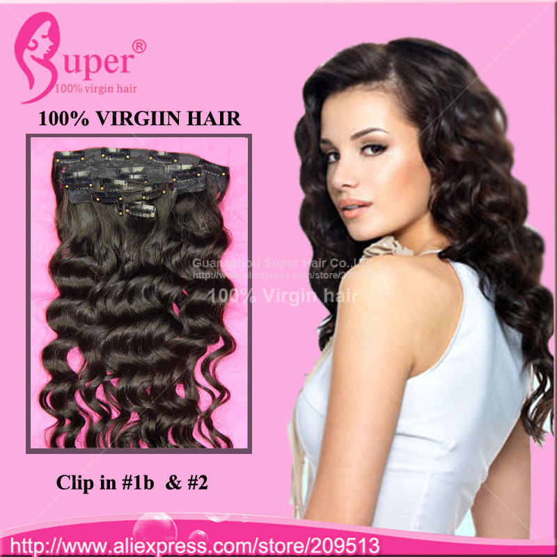 6a Unprocessed Brazilian Virgin Hair Wet And Wavy Clip In Human Hair