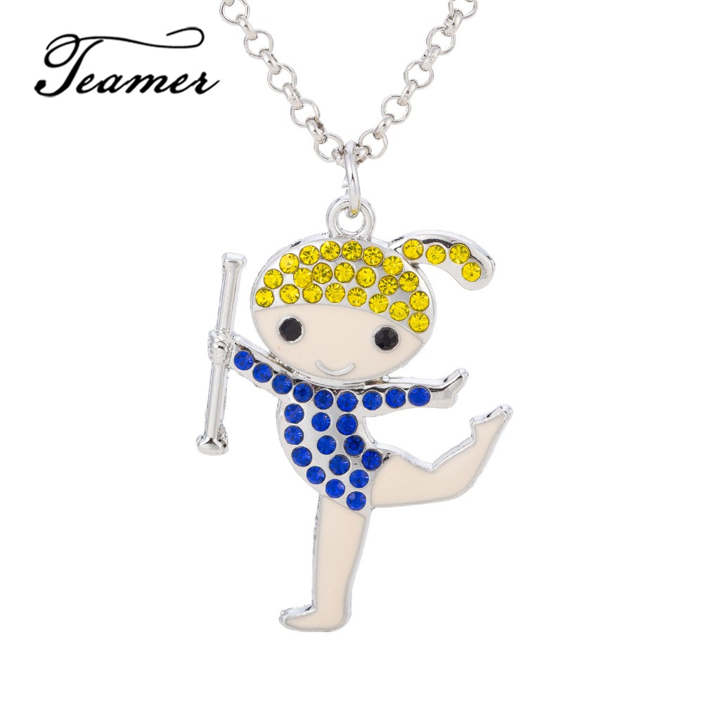 Teamer  New Fshion Brand Dancing Happy Girl Pattern 4 Colors Crystal Pendant Necklace Jewelry Best Gift for Little Girls