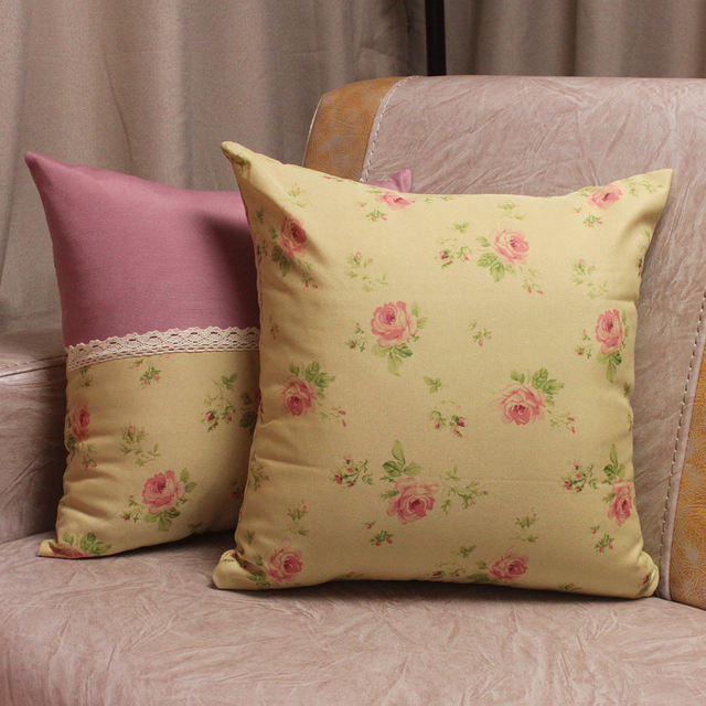 American British French Country Style Flowers Lace Sofa Cushion Covers /  Square Office Home Decorative Throw