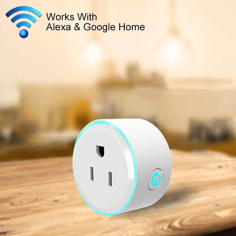 FUNN-10A US Plug WiFi Mini Smart Plug APP Remote Control Timing Round Shape Google Home Colorful LED Breathing Light Smart Soc цена 2017