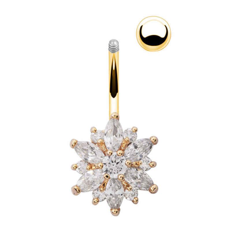 1 шт. сексуальные висячие кольца для живота, золотые серебряные кольца для пирсинга живота, CZ Хрустальный цветок, ювелирные изделия для тела, пирсинг пупка, кольца