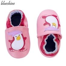 Детские Нескользящие мокасины из мягкой кожи с милым пингвином для маленьких мальчиков и девочек 0, 6, 12, 18, 18, 24 месяцев, детская обувь, Тапочки