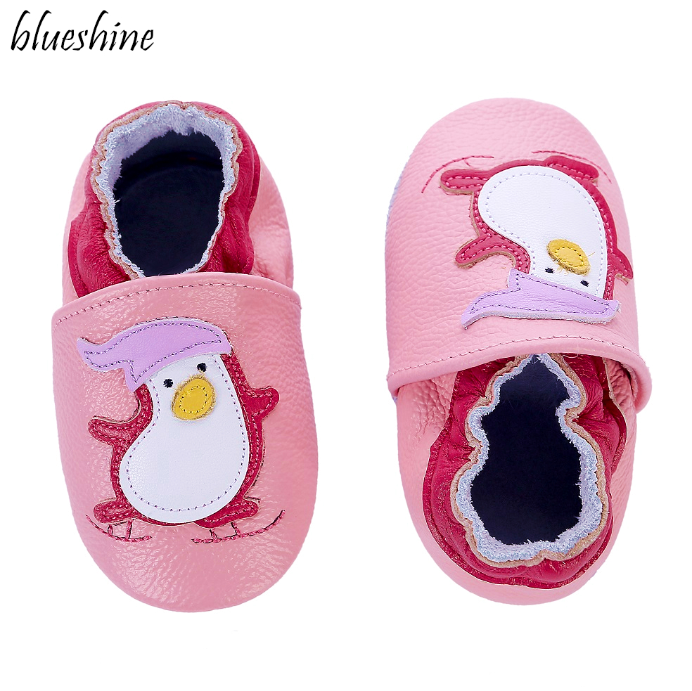 Cute Penguin Skid-Proof Infant First Walkers Soft Leather Boys Girls Baby Moccasins 0-6 6-12 12-18 18-24M Baby Shoes Slippers