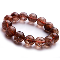 15mm Genuine Natural Copper Hair Rutilated Quartz Big Beads Fashion Lady Jewelry Bracelets
