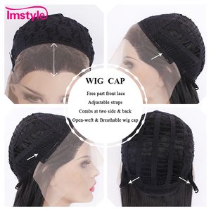 Image 5 - Imstyle черный кружевной парик, длинные волнистые синтетические кружевные передние парики для женщин, Термостойкое волокно, бесклеевая натуральная линия волос, парик для косплея