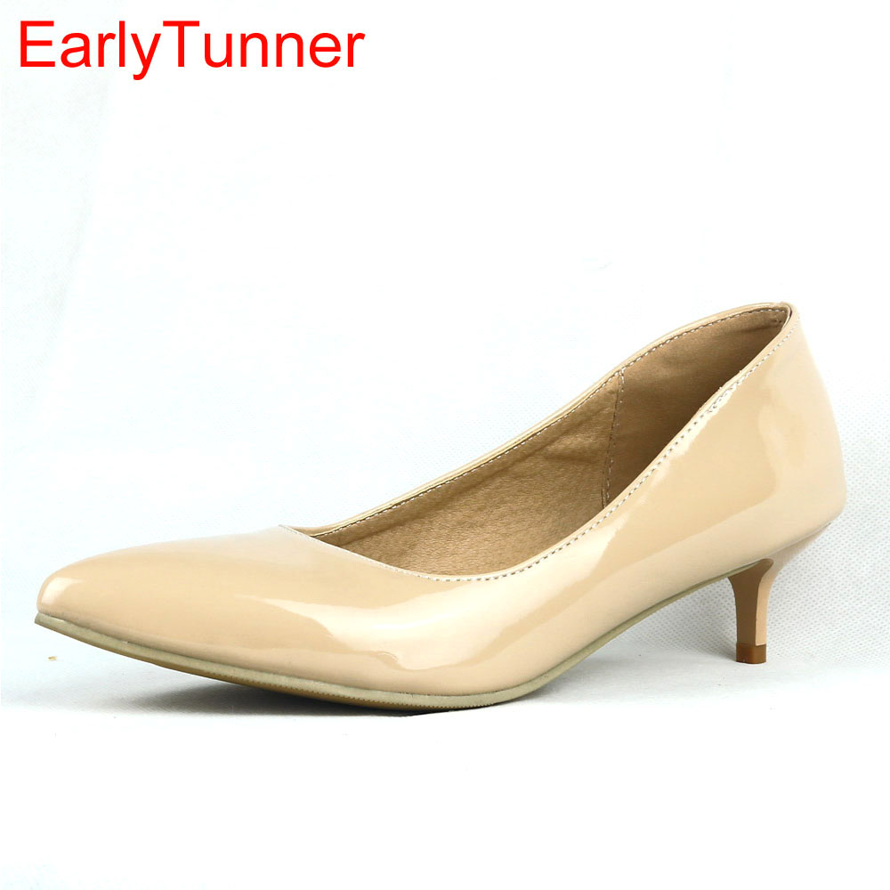 f895a61b5798 aliexpress.com - Brand New Elegant Black Red Women Glossy Formal Pumps  White Yellow Low Heels Office Ladies Shoes EM05 Plus Big Size 30 43 45 11 -  imall.com