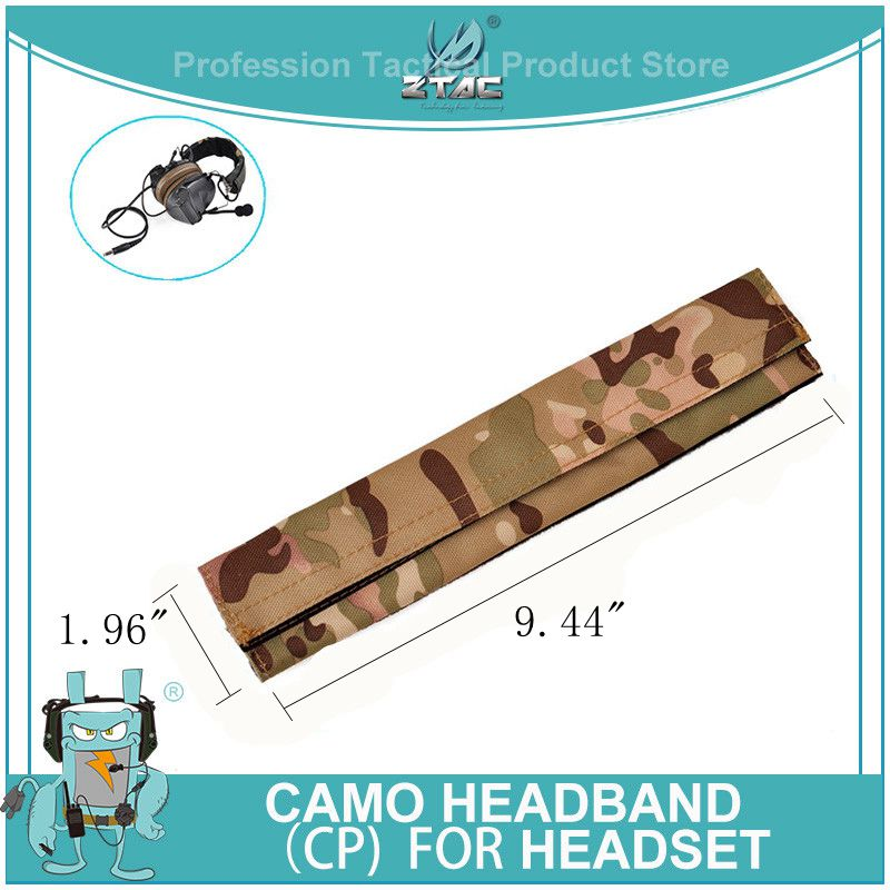 Z-tac Tactical Softair Headband Headphone Nylon CP Cloth Cushion Pad Camo Element Headband For Headset Peltor 9.44