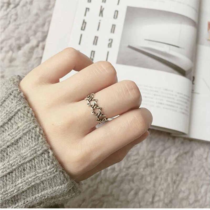 Женское кольцо с шестигранной звездой Anenjery, закрученное открытое ювелирное изделие из тайского стерлингового серебра 925 пробы, 16 мм, S-R166