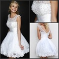 Hot Sales Sleeveless Tulle A-line Cheap White robe de cocktail Lace Appliques Pearls Short Cocktail Party Dress 2016