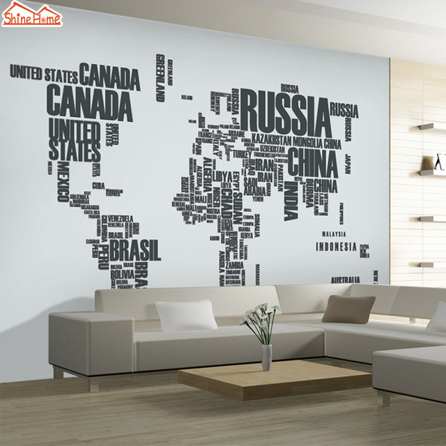 shinehome diy moderne personnalis lettre carte du monde 3d mural papier peint salon chambre mur. Black Bedroom Furniture Sets. Home Design Ideas