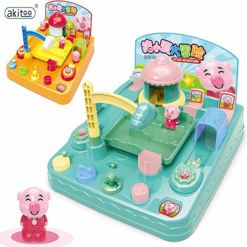 Akitoo enfants cochon grande aventure puzzle début de l'enseignement manuel opération bouton piste dynamique musique lancement jouet cadeaux #1011