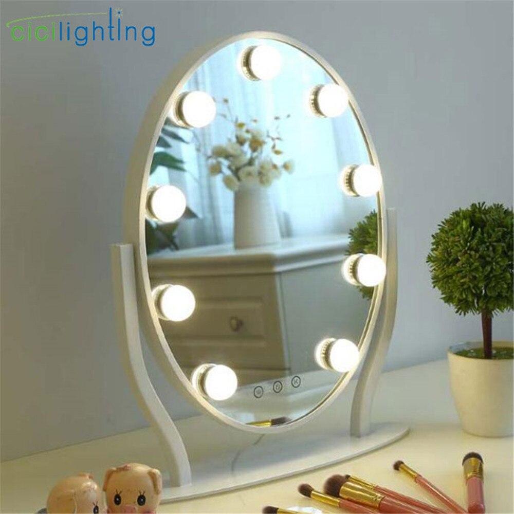 Затемнения smart круглый светодио дный косметическое зеркало с лампочкой столе косметическое зеркало лампа жить красоты touch приглушить тщесл