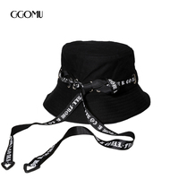 GGOMU מכתבי אופנה נשים גברים כובע דלי סרט מקרית קיץ השמש hat מתקפל כובע שטוח כובעי ריקוד רחוב פאנק ZLH-237