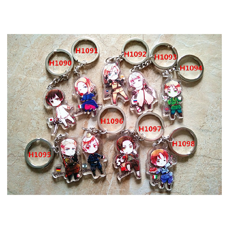 9pcs set font b Anime b font Keychain Axis Power Hetalia uk Italy Pasta German american
