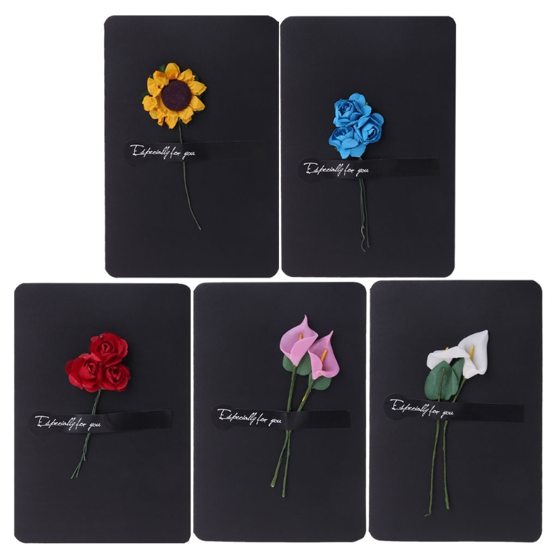 Us 0 34 18 Off Artificial Flower Greeting Card Black Handmade Message Paper Invitation Cards Diy Envelope Gift 5 Types In Cards Invitations From
