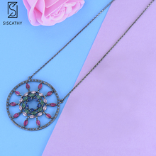 цена на SISCATHY Fashion statement necklace Geometric Hollow Shape Pendant Necklace For Women Girls Fashion Jewelry