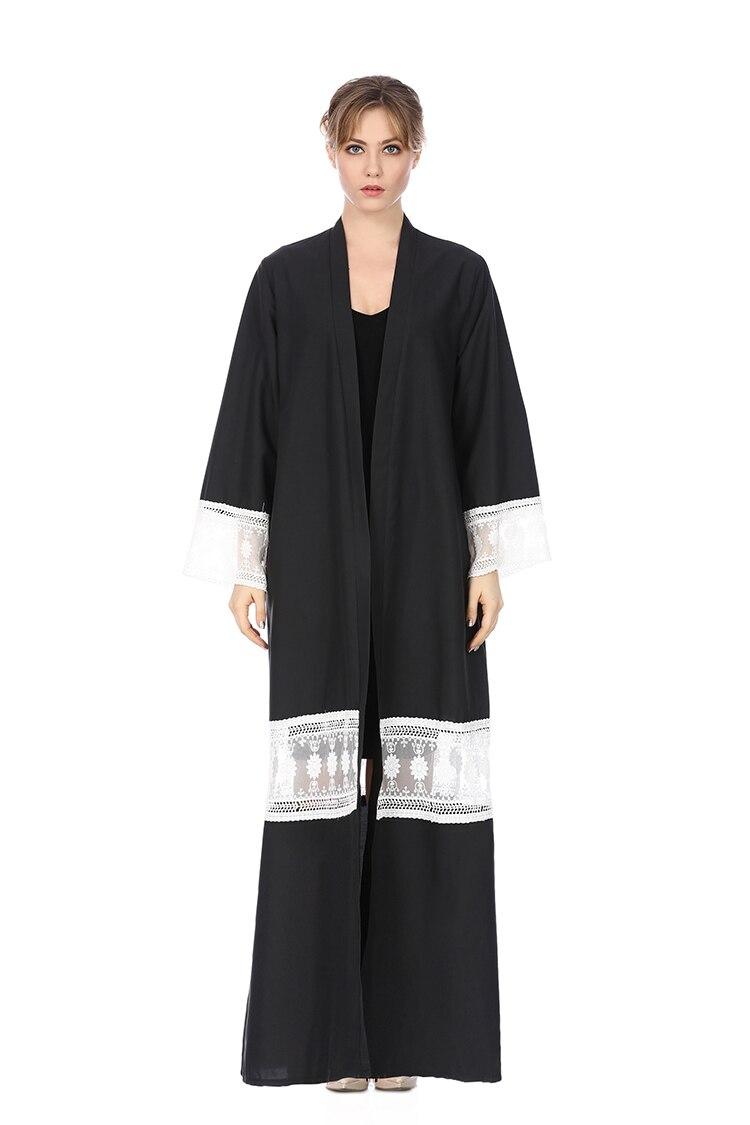 fb22679ff6981 US $5.67 29% OFF Hanzangl Baru Muslim Wanita Musim Semi Musim Gugur Lengan  Panjang Renda Gaun Malaysia Hui Gaun Dubai Turki India Cardigan Jubah ...