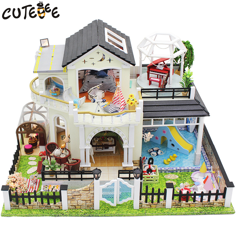 CUTEBEE Doll House Miniature DIY Dollhouse With Furnitures Wooden House Toys For Children Birthday Gift D030 cutebee doll house miniature diy dollhouse with furnitures wooden house toys for children birthday gift hordic holiday a030