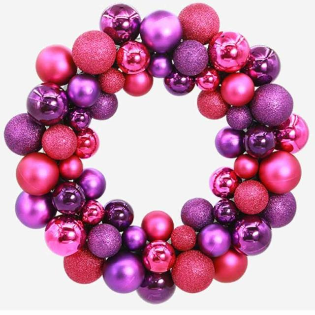 Christmas Ball Garland.Us 22 03 Christmas 55 Balls Wreath Door Wall Ornament Garland Decoration Z1014 In Pendant Drop Ornaments From Home Garden On Aliexpress Com