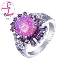 ZHE FAN Oval Pink Fire Opal Rings Purple AAA CZ Zirconia Luxury Ring Women  Jewelry Valentines Day New Year Gift SIze 5 6 7 8 9