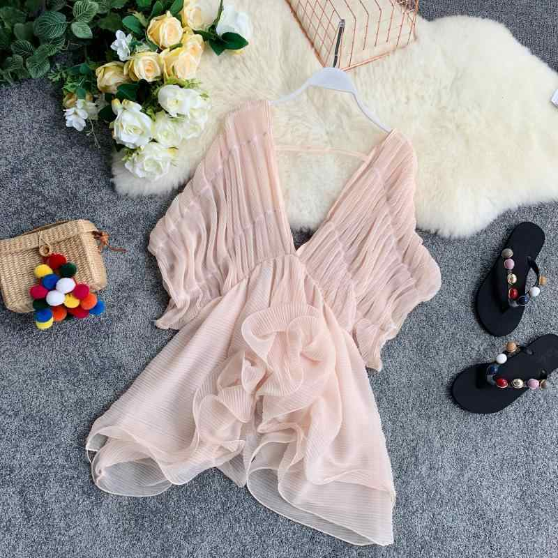 Summer 2019 Pink White Black Pleated Women Blouse Sexy V Neck Club Party Beach Blusas Irregular Ruffles Female Chiffon Chic Tops