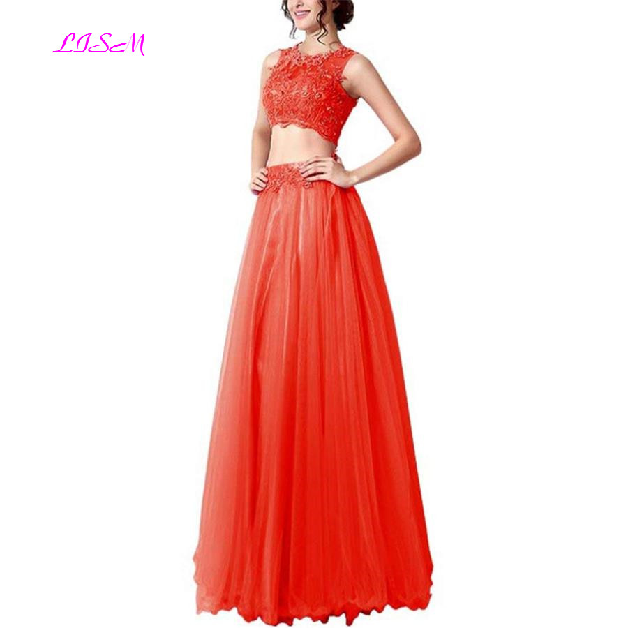 Lace Appliqued Tulle Prom Dress Long Two Pieces Tulle Evening Party Gowns 2019 Long Crop Top Formal Dress vestido de festa longo