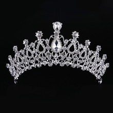 Top Quality Crystal Glass Tiara Crown Silver Women Hair Ornaments Wedding Crown Hairwear Bride Accessories CY161117-132