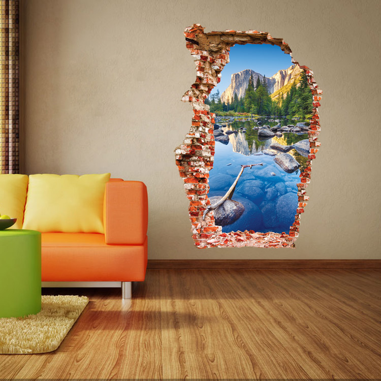 Break Wall 3D Wall Stickers Wucaichi (Colorful Pond) : Mountain Scenery Broken Hole Wall Stickers The Door Stick AW3024