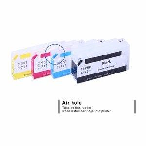 Image 3 - Inka cartouche de rechange Compatible pour imprimante HP 711 XL, rechargeable, réinitialisation de la puce pour Deskjet T520 T120