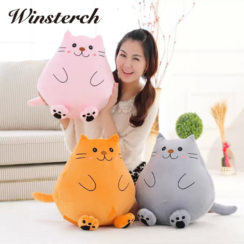 42cm New Fat Pet Cats Big Face Cat Toys Pillow Plush Toys Soft Stuffed Animal Dolls Simulation Peluches Gifts Kids WW312 cute siamese cat plush doll toys simulation stuffed animal kids toys cats dolls gifts female
