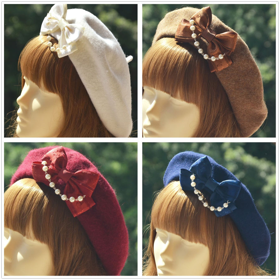 Biamoxer Vintage Women Lolita Gothic Wool Bow Elegant Womens Lolita Pearl Bow Wool Beret Hat Sailor Artist Painter Cap Gifts