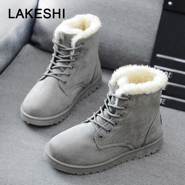 Kadın çizmeler sıcak kış çizmeler kadın moda kadın ayakkabı sahte süet yarım çizmeler kadın Botas Mujer peluş astarı kar botları için