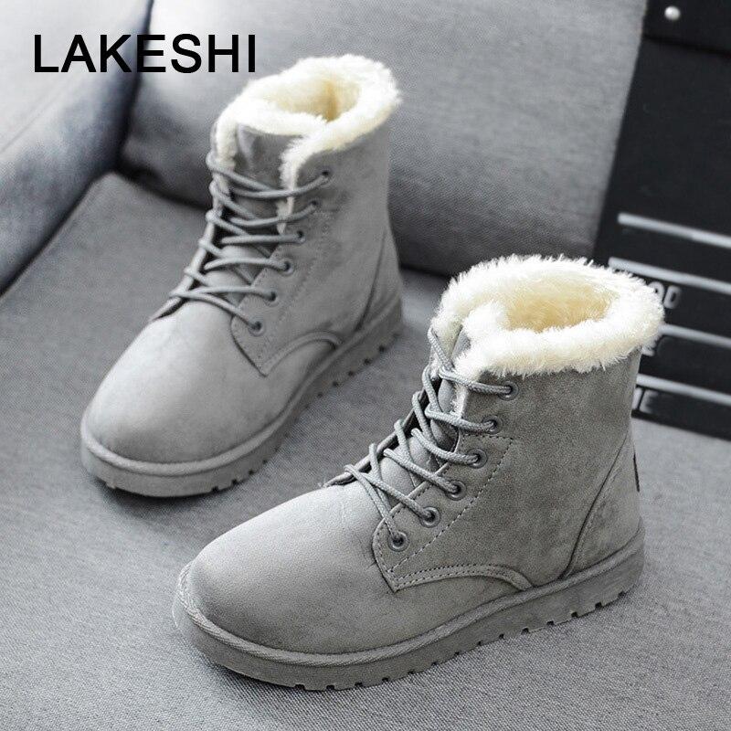Las mujeres Botas de invierno Botas de Mujer zapatos de Mujer de moda de imitación gamuza tobillo Botas para Mujer, Botas de Mujer de plantilla de nieve botas