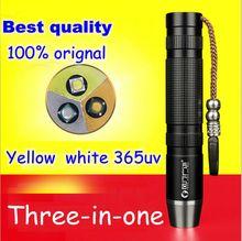 2016 3 in one UV 365nm flashlight for checking jade fluorescent agent money Detecting / Yellow Light / White LED Lamp Light