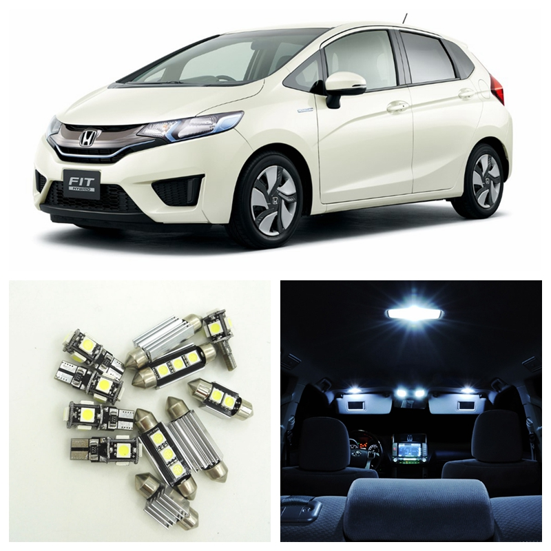 9pcs Canbus White Car LED Light Bulbs Interior Package Kit For 2007-2014 Honda Fit Map Dome Trunk License Plate Lamp high quality new rc2 6242 000 rc2 6242 arm swing gear assembly for hp p2050 p2035 p2035n p2055d p2055dn p2055n fuser drive gear