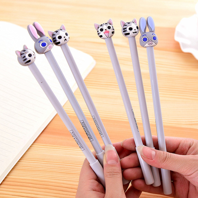 12PCS  Cute cheese cat rabbit gel  pen souvenirs  kids birthday party supply merry Christmas gift new year baby shower favors