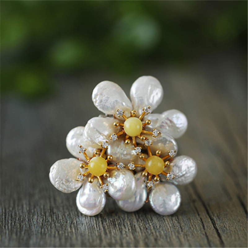 CMAJOR Baroque Pearl Brooches For Women Natural Yellow Stone Beads Flower Brooch Fine Jewelry Bijoux Broche FemmeCMAJOR Baroque Pearl Brooches For Women Natural Yellow Stone Beads Flower Brooch Fine Jewelry Bijoux Broche Femme