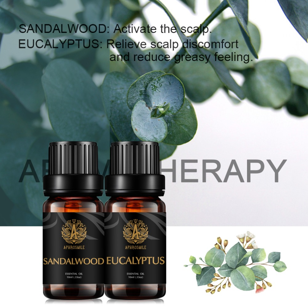 2 Kinds of Fragrance Sandalwood Eucalyptus Essential Oils Pure Plant Extract Water-soluble Oils Body Massage SPA Skin Care Oil