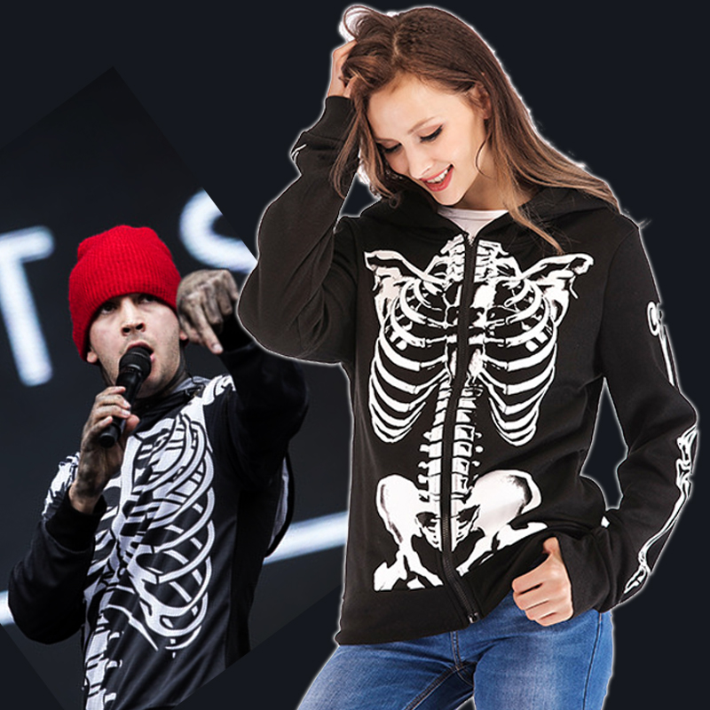 cd9b9a1b49e Twenty One Pilots Hoodies Zipper Jackets Cosplay Tyler Joseph Costume  Harajuku Streetwear Skeleton Hooded Sweatshirt Gilrs Women