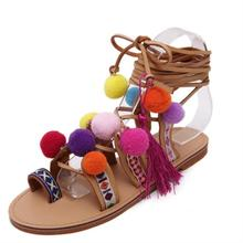 Sandalias romanas de China Pompón Bordado Rodilla Sandalias de Tiras Verano Nueva borla de Las Mujeres Sandalias de Gladiador Zapatos de Mujer de Cuero