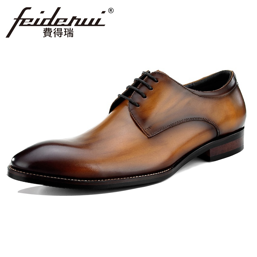 High Quality Genuine Leather Mens Footwear Round Toe Lace-up Man Wedding Party Flats Lux ...