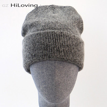 GZhilovingL ฤดูหนาวที่มีชื่อเสียงอบอุ่นของแท้หมวก Casual Skullies ถักหมวกสีดำกระต่าย Lana ถักหมวกขนสัตว์หนาหมวก