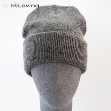 GZhilovingL Famosos Inverno Lã Quente Genuína Cap Casual Skullies Malha Chapéus Coelho Preto Lana Chapéus De Malha de lã dos homens de espessura chapéu