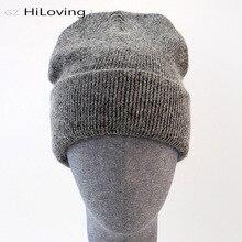 GZhilovingL 冬有名な暖かいウール本キャップカジュアル Skullies ニット帽子黒ウサギ Lana ニット帽子メンズウール厚い帽子