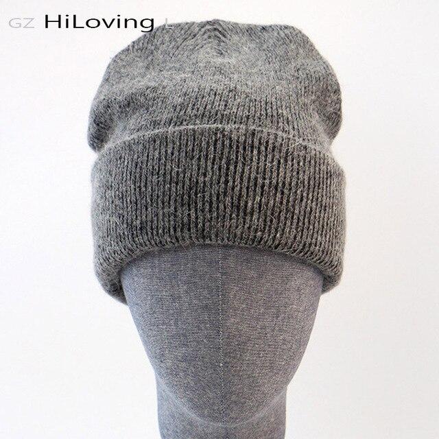 GZhilovingL الشتاء الشهيرة الدافئة الصوف قبعة حقيقية عادية Skullies قبعات منسوجة أرنب أسود لانا قبعات منسوجة الرجال الصوف قبعة سميكة