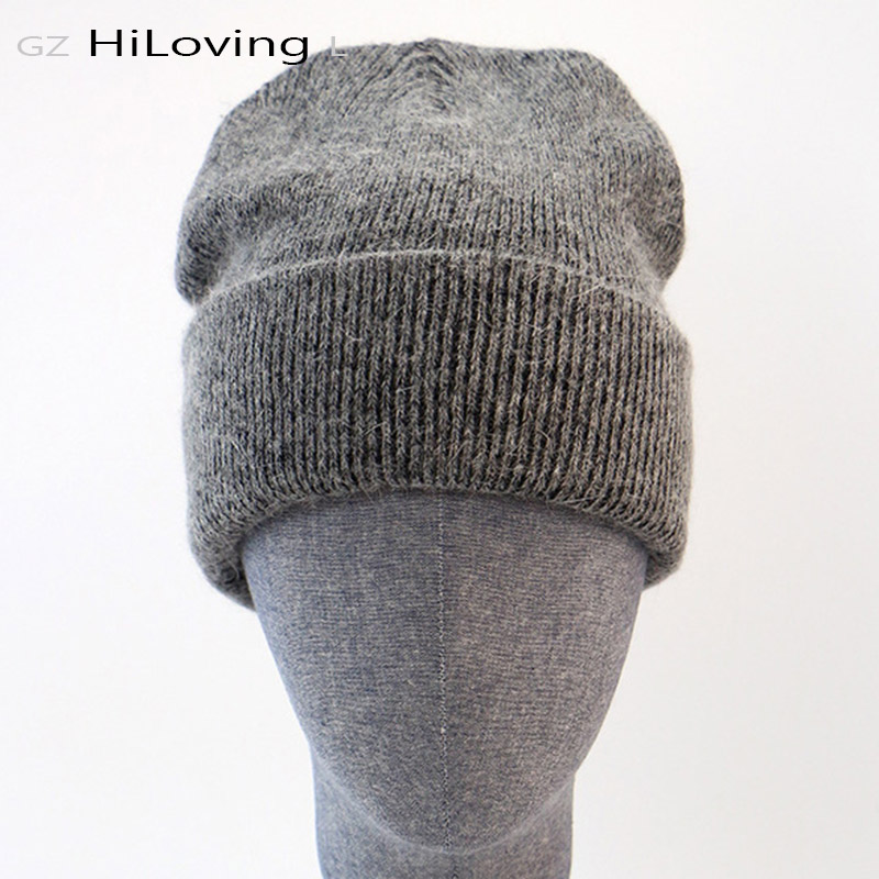 GZhilovingL Winter Famous Warm Wool Genuine Cap Casual Skullies Knitted Hats Black Rabbit Lana Knitted Hats Men's Wool Thick Hat