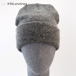 Image 1 - GZhilovingL Winter Famous Warm Wool Genuine Cap Casual Skullies Knitted Hats Black Rabbit Lana Knitted Hats Mens wool thick Hat