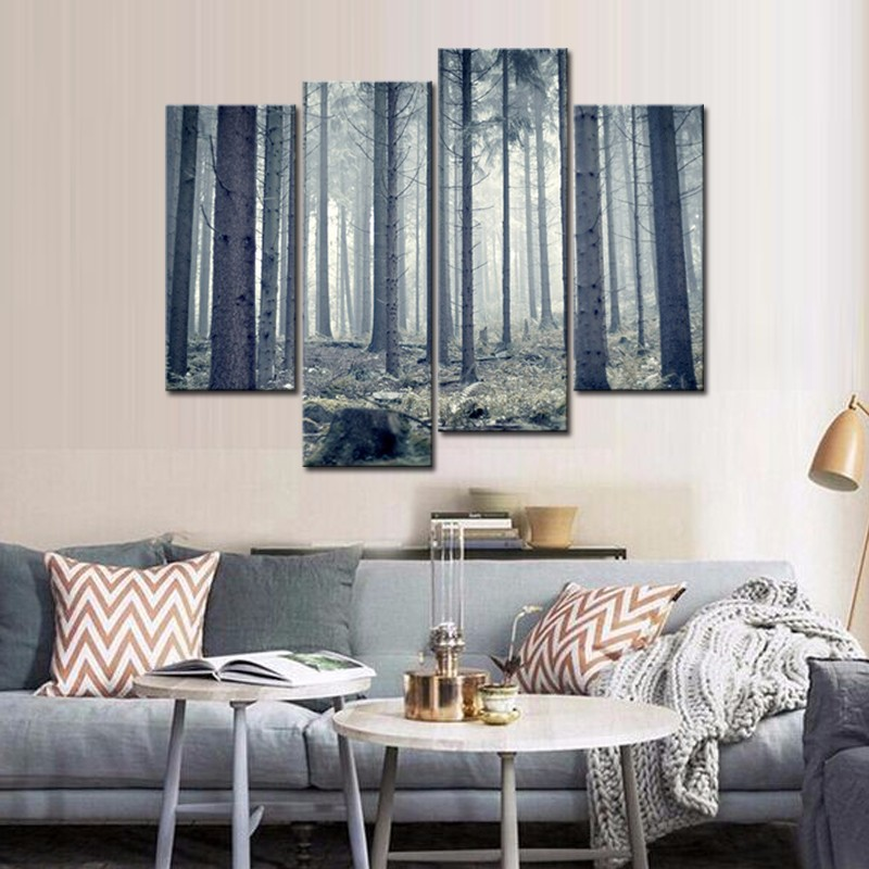 4 Panel Forest Wall Painting Canvas Art Picture Forest ...